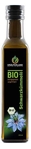 Kräuterland - Bio Schwarzkümmelöl 250ml ungefiltert - 100% rein,...