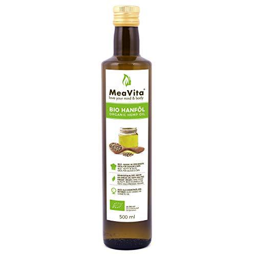 MeaVita Bio Hanföl, 100% rein & kaltgepresst, (1x 500ml) Hanfsamenöl...