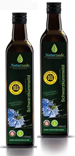 Naturzade Schwarzkümmelöl 1000ml Ungefiltert Glasflasche ( 2 x 500ml...