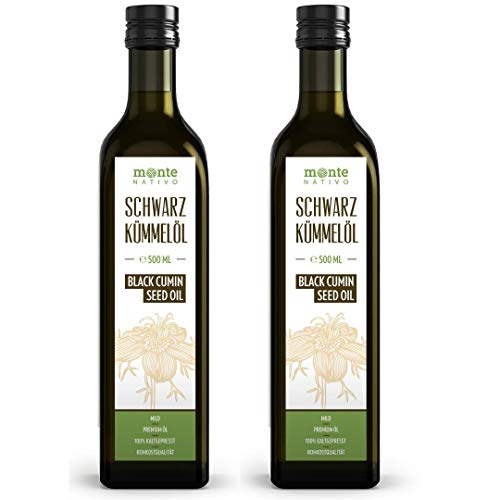 Schwarzkümmelöl MonteNativo (2x500ml) 1000ml Glasflasche - Milder...