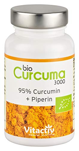 BIO CURCUMA 3000, hochdosierte Bio Kurkuma Kapseln, mit Piperin, sehr...