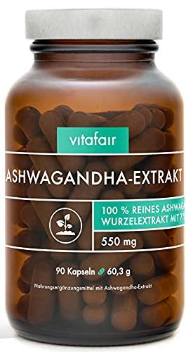 VITAFAIR Ashwagandha Extrakt (1650mg) - Vegan, Braunglas, Ohne...