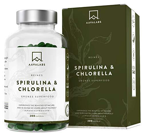 Bio Spirulina Pulver und Chlorella Algen Kapseln - [ 1800 mg ] - 200...
