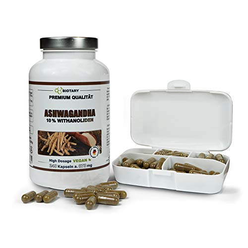 Ashwagandha 240 Kapseln a 873mg, INCLUSIVE PILLENBOX, Tagesportion mit...