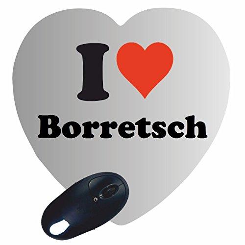 Herz Mauspad 'I Love Borretsch' in Weiss, eine tolle Geschenkidee die...