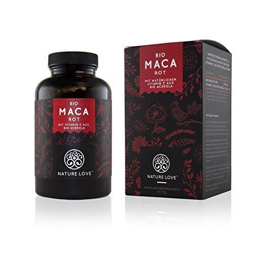 NATURE LOVE® Bio Maca - 180 Kapseln - 3000 mg Bio Maca rot pro...