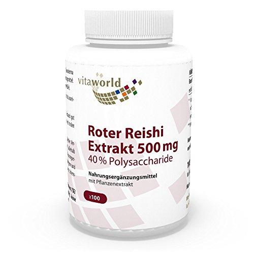Vita World Premium Roter Reishi Extrakt 500mg 40% Polysaccharide 100...