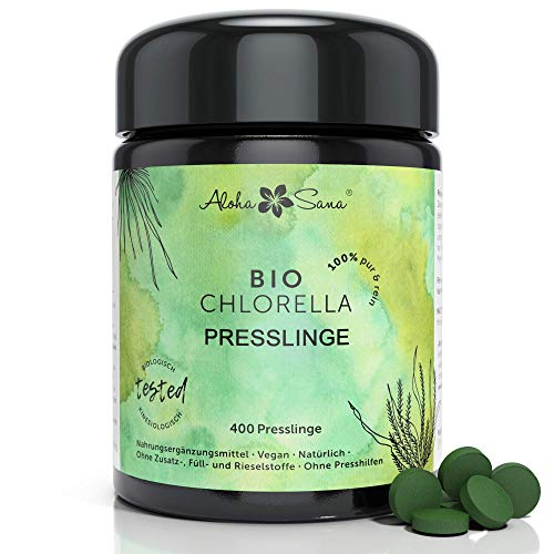 Aloha Sana® | Chlorella BIO Presslinge im Ultraviolettglas | 400...