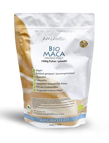 AMLAWELL Bio Maca Pulver - 1000 g Macapulver mit wertvollen...