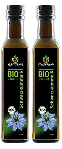 Kräuterland - Bio Schwarzkümmelöl 2x250ml- 100% rein, gefiltert,...
