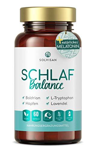 SOLVISAN SCHLAF GUT mit natürlichem Melatonin, Baldrian, Hopfen,...