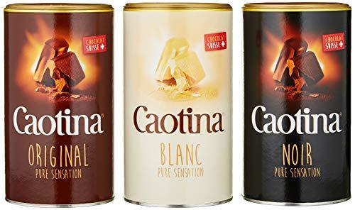 Caotina 3er-Set, original, noir, blanc, Kakao Pulver mit Schweizer...