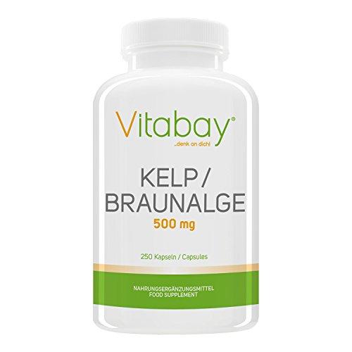 Kelp 500 mg - Braunalge - 250 Kapseln – natürliche Quelle für Jod