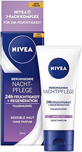 NIVEA Beruhigende Nachtpflege 24h Feuchtigkeit + Regeneration (50 ml),...