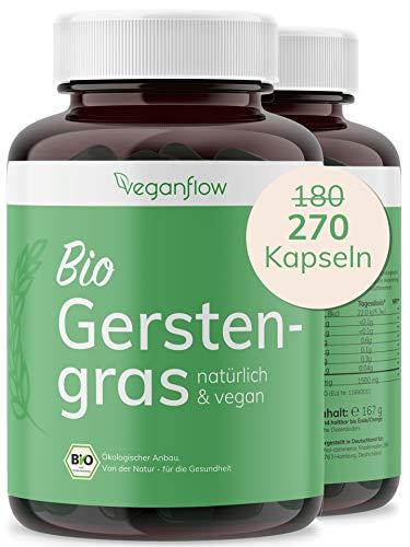 veganflow® BIO Gerstengras Kapseln, hochdosiert, 270 Kapseln (vegan)...