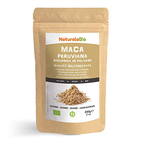 Maca Pulver Bio [ Gelatiniert ] 200g. Natürlich und Rein, hergestellt...