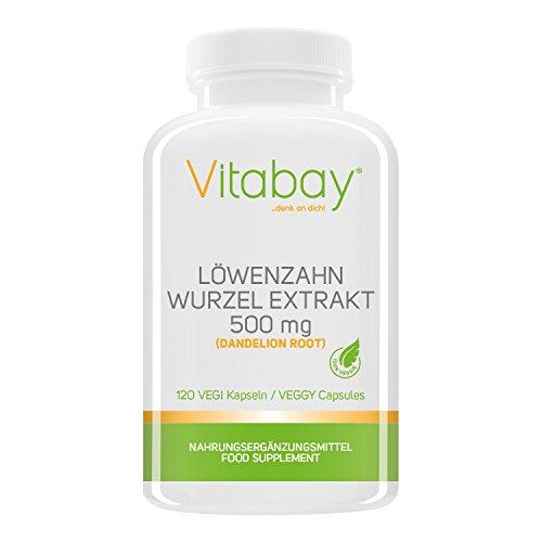 Löwenzahn Wurzel Extrakt 500 mg (Dandelion Root) - 120 Vegi Kapseln -...