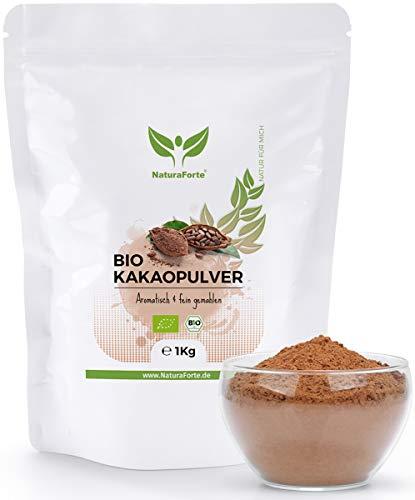 NaturaForte Kakaopulver Bio 1kg - Rohes Kakao Pulver, Zuckerarm, Stark...