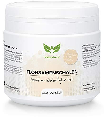 NaturaForte Flohsamenschalen 360 Kapseln - Hochdosiert, 500mg pro...