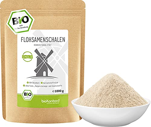 Flohsamenschalen gemahlen BIO 1000g (1kg) I 99% Reinheit I...