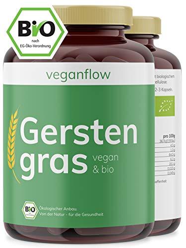 veganflow® BIO Gerstengras Kapseln, hochdosiert, 180 Kapseln (vegan)...