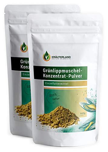 Kräuterland Grünlippmuschel Pulver Hund 1000g - 100% pur und rein -...