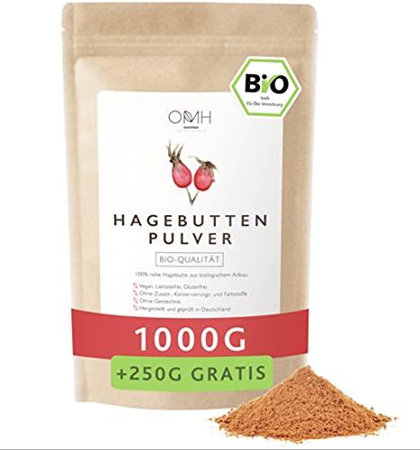 Bio Hagebuttenpulver 1kg + 250g gratis Vorteilspack 100% echte...