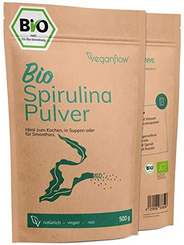 veganflow® Spirulina Pulver Bio 500g, laborgeprüftes und reines...