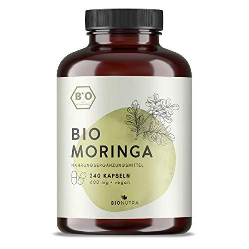 BIONUTRA® Moringa Kapseln Bio (240 x 600 mg), hochdosiert, deutsche...