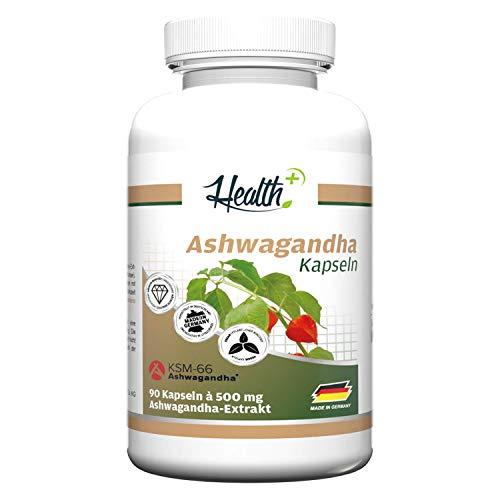 Health+ Ashwagandha - 90 Kapseln hochdosiert, indischer Ginseng aus...