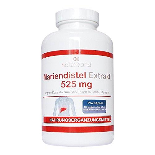Mariendistel Extrakt 525 mg - 80% Silymarin (420mg) - 200 vegetarische...
