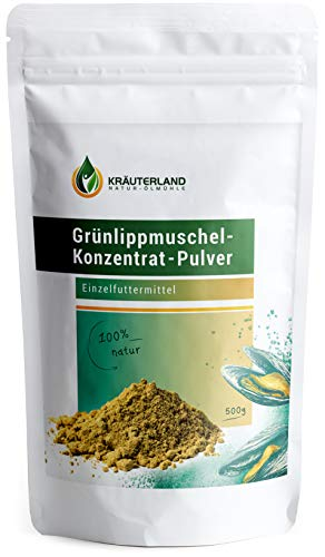Kräuterland Grünlippmuschel Pulver Hund 500g - 100% pur und rein -...