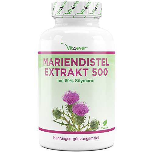 Mariendistel Extrakt 180 Kapseln mit je 500 mg - 80% Silymarin Anteil...
