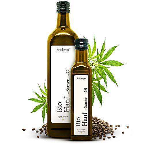 Bio Hanföl 750ml Glasflasche mit Dosierer | 100% rein & kaltgepresst...