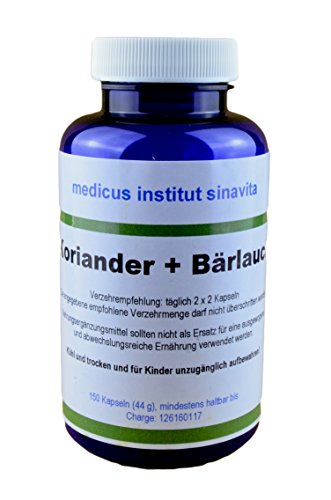 Koriander + Bärlauch, 150 Kps. Reinsubstanz ohne Zusatzstoffe, aus...