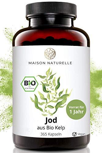 MAISON NATURELLE® Bio Kelp (Natürliches Jod) - 365 Kapseln - 200μg...