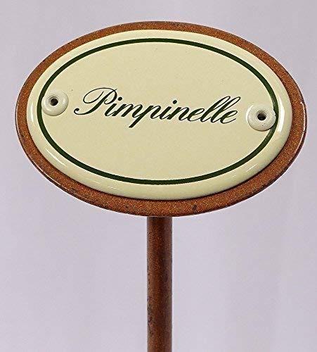 Kräuterschild Kräuterstecker Emaille, Pimpinelle, Erdspieß 25 cm
