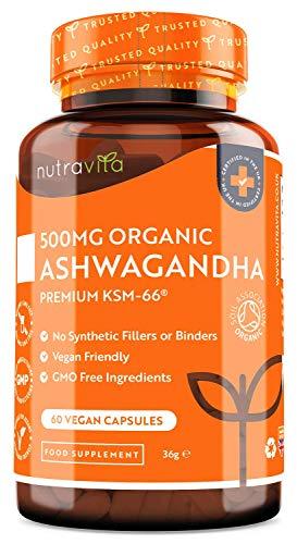 Bio Ashwagandha 500mg KSM 66 - Natürliches Kräuter Ayurveda...