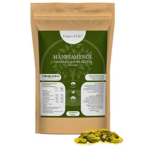 Hanföl 250 Softgel-Kapseln - Hochdosiert mit 2000 mg Tagesportion -...