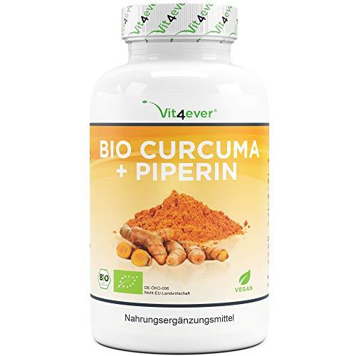 Bio Curcuma - 365 vegane Kapseln - 4560 mg (Bio Kurkuma + schwarzer...