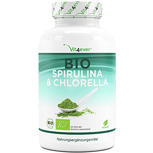 Bio Spirulina + Bio Chlorella mit 500 mg pro Pressling - 600...