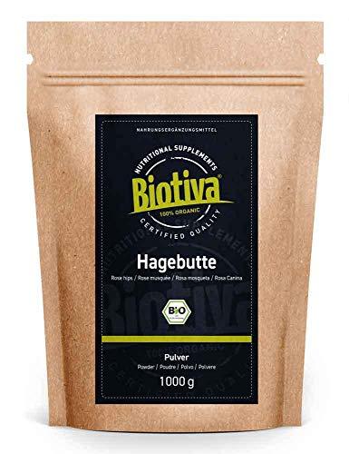 Hagebuttenpulver Bio 1 kg - EU Ernte - Rosa Canina - Rohkostqualität...
