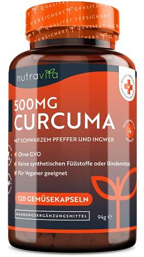 Curcuma Extrakt Kapseln - 120 Kapseln - 500mg Kurkuma Kapseln - Mit...