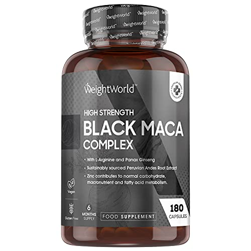 Maca Schwarz 5000mg - 180 Maca Kapseln - Black Maca Komplex mit Panax...