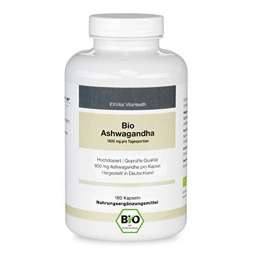 EXVital premium Bio Ashwagandha,180 Kapseln – 600 mg je Kapsel (1800...