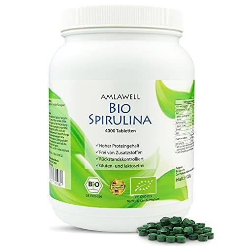 AMLAWELL Bio Spirulina - 1000 g Bio Spirulina Tabletten mit wertvollen...