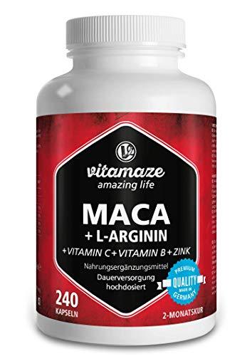 Maca Kapseln hochdosiert 4000 mg + L-Arginin + Vitamine + Zink, 240...