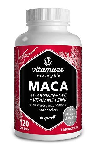 Maca Kapseln hochdosiert 5000mg + L-Arginin + VITAL Formel B6, B12,...