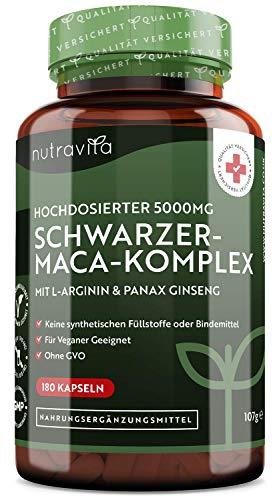 Schwarzer-Maca-Komplex - Hochdosiert mit 5.000mg- 180 vegane Kapseln -...
