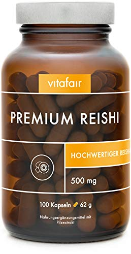 VITAFAIR Reishi Extrakt Kapseln (20:1 Verhältnis mit 500mg), 100...